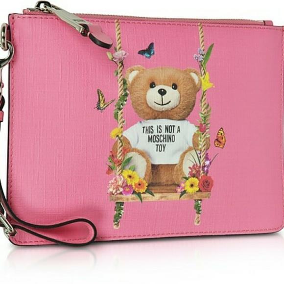 Moschino Handbags, Teddy Bear Eco Leather Clutch